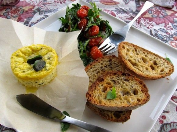 Baked ricotta with roasted tomato parsley salad and sourdough bread ...