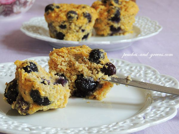 Lemon Blueberry Cornbread Muffin - ingredients include quinoa flour ...