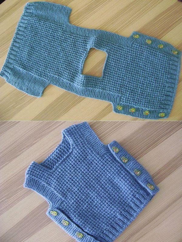 Вязание спицами жилетка для малыша 15