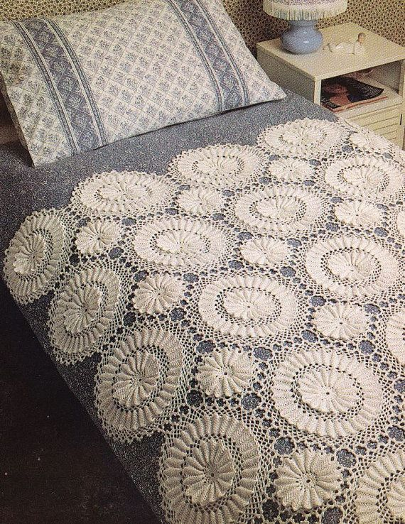 Crochet Bedspread Patterns : Heirloom Bedspread Crochet Pattern by PaperButtercup on Etsy, $5.50