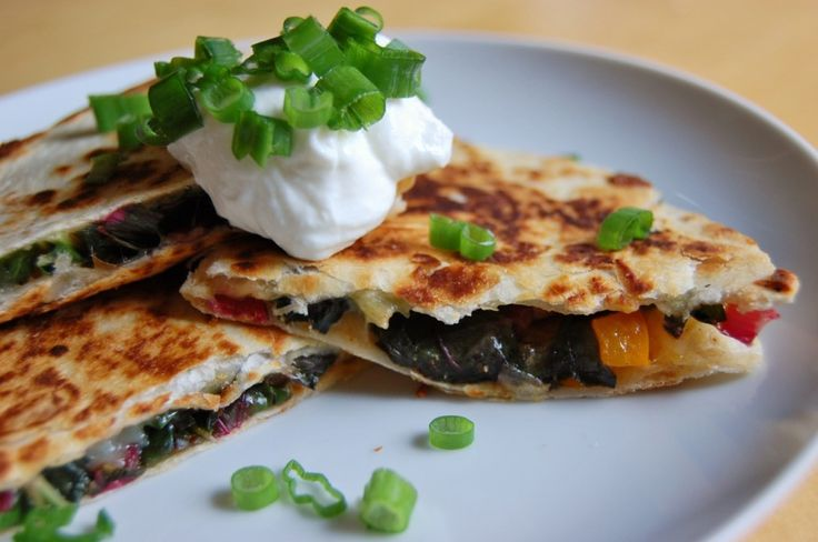 Quesadilla Tutuorial: Swiss Chard, Spring Onion and Pepper Quesadillas