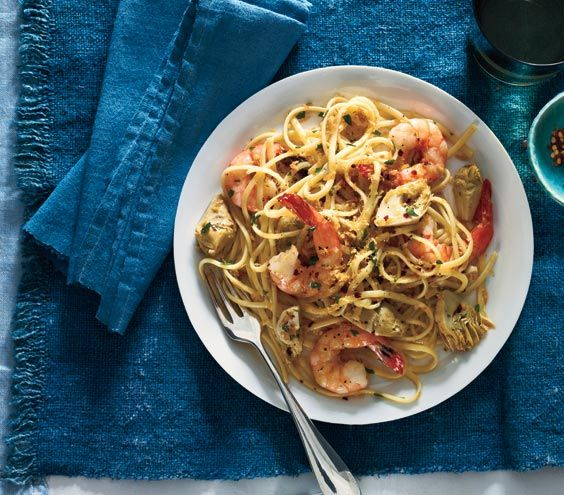 Pasta With Shrimp, Artichokes And Feta Recipe — Dishmaps