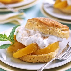 features lemony shortcakes studded with diced peaches and a peaches ...