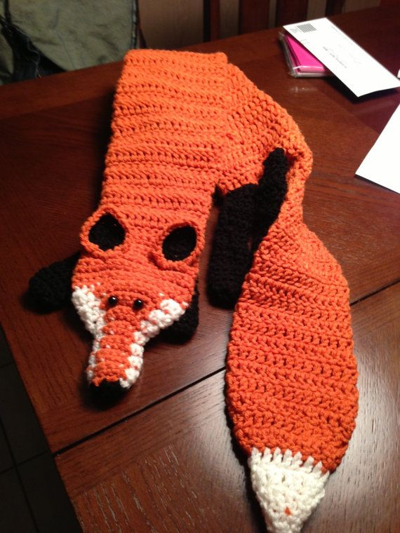 Free Crochet Patterns Fox Scarf : Handmade Crocheted Fox Scarf
