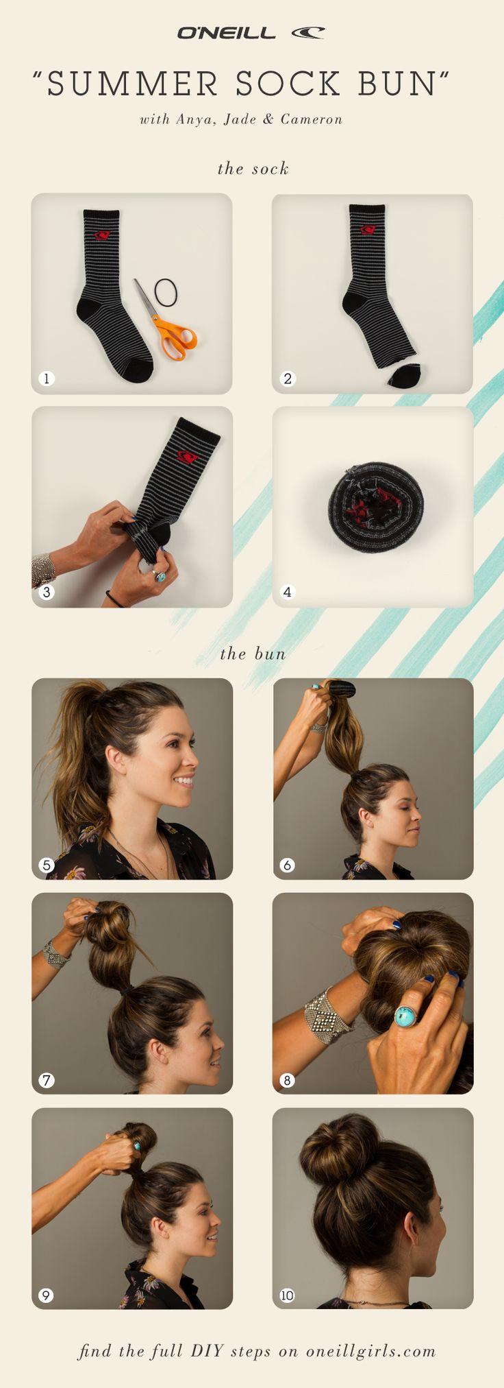 Summer sock bun hair tutorial. DIY. High bun.