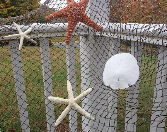 Fishing net decorative 5 39 x 5 39 nautical beach decor for Decorative fishing net