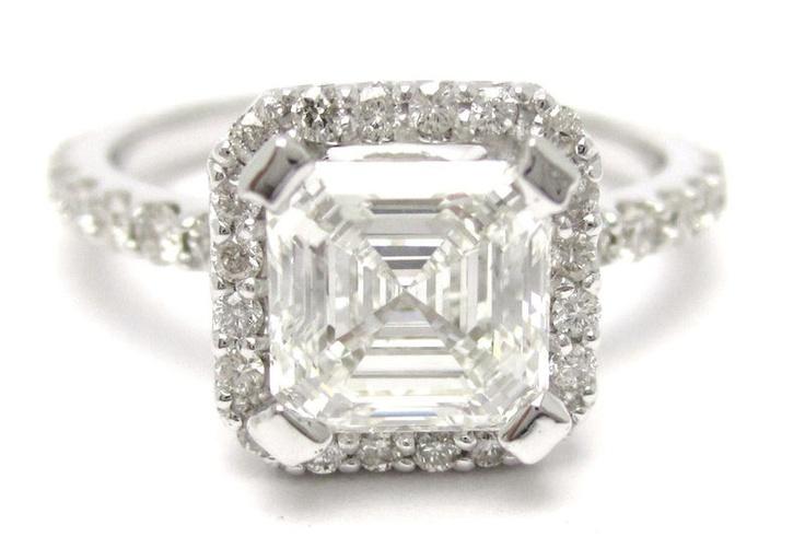 2 25ct asscher cut antique diamond engagement ring