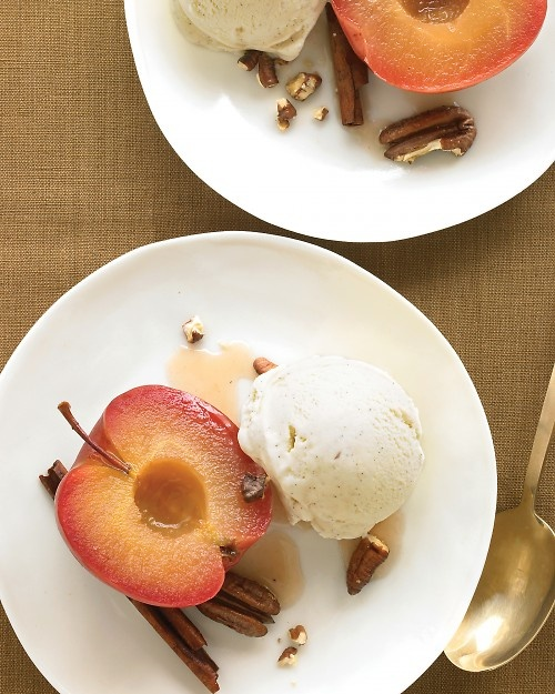 Cinnamon-Roasted Apples with Pecans and Ice Cream. With frozen yogurt ...