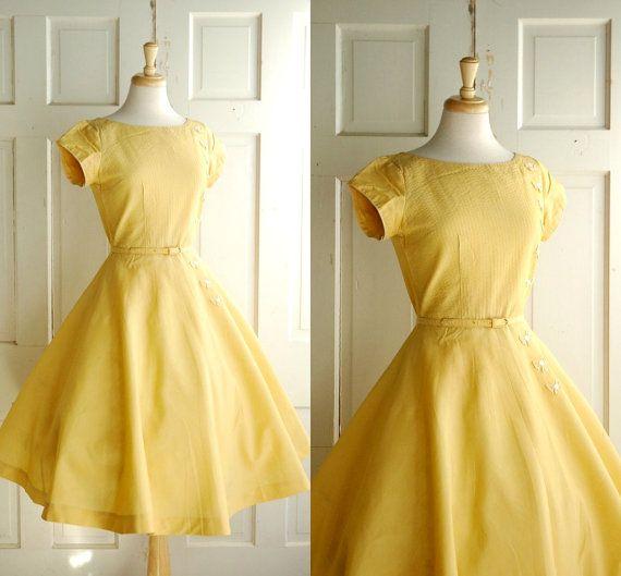 1950s Saffron Spring Dress / Vintage Day Dress by DalenaVintage
