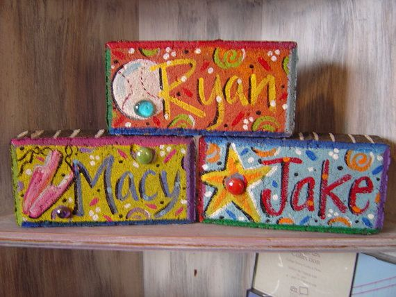 Garden Brick  Personalized Hand Painted Name & Theme by KathyHyatt, $18.00