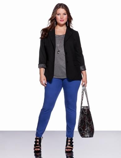 Bright skinny jeans and blazer #plus size