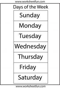 Days of the Week – 1 Worksheet | Preschool Printables | Pinterest