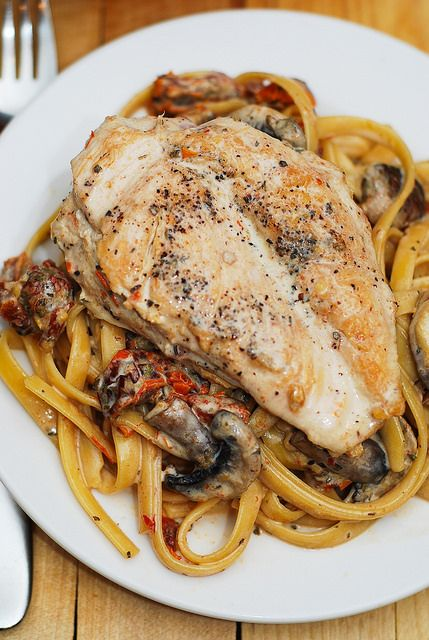Chicken mushroom pasta with sun-dried tomatoes in a creamy garlic and ...