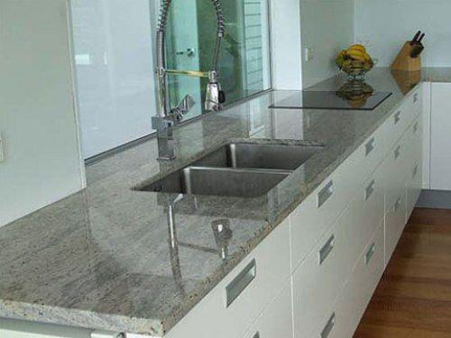 White Kitchen Cabinets with Gray Granite Countertops
