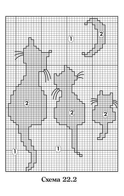 Орнамент кошки для вязания спицами схемы 29