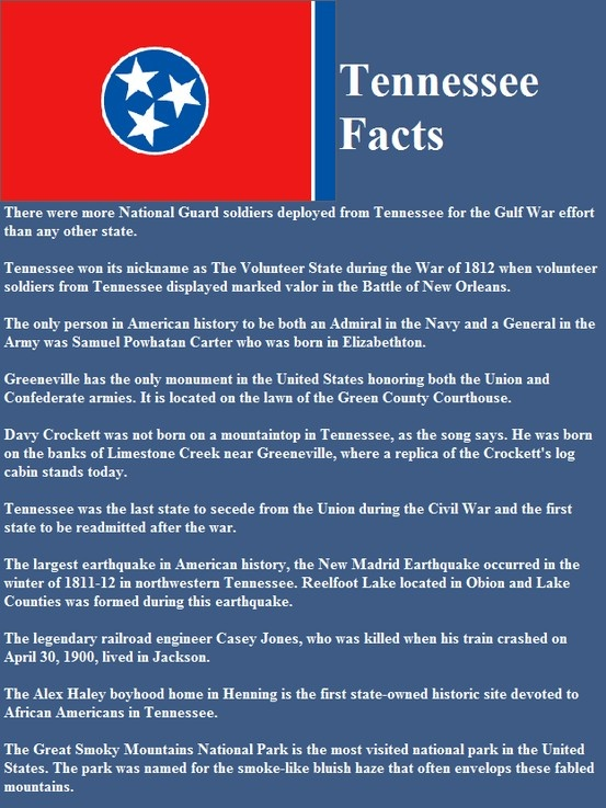 Tennessee facts united states of america pinterest for Interesting facts of usa