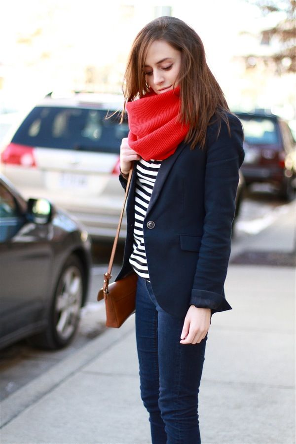 Blue blazer and red scarf