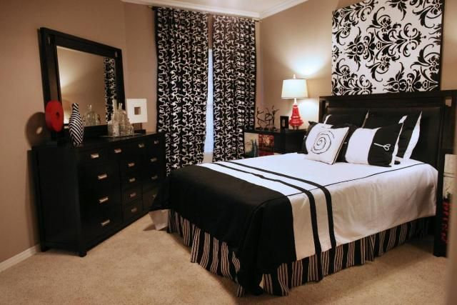 master bedroom black and white maybe add some teal or yellow