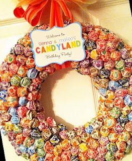 Candy sucker wreath