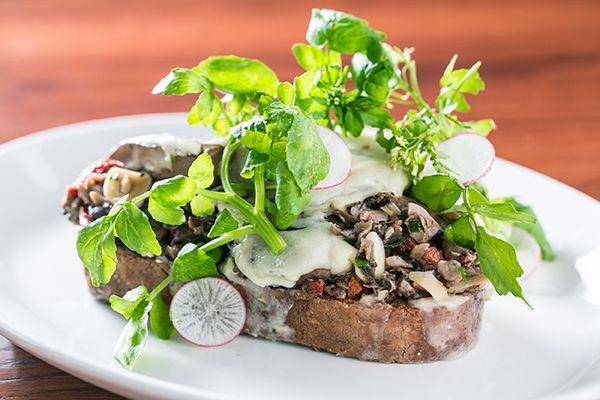 Open-faced Mushroom sandwich - refinery29 Saute marinated mushrooms ...