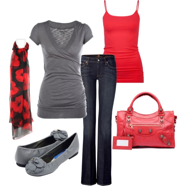 Red and Gray, created by styleofe.polyvore...