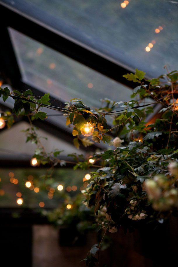 globe string lights entwined with vines / August Restaurant in Greenwich Village, Manhattan / photo by Nicole Franzen