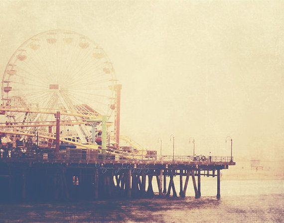 Santa Monica photograph  carnival ferris wheel pier by MyanSoffia, $15.00