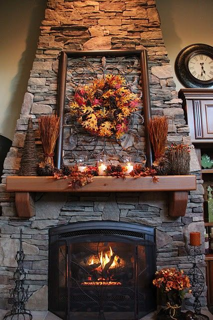 Hang a wreath on the grate on mantle - great idea! Thanksgiving Decorating Ideas | HomeSpot HQ Blog