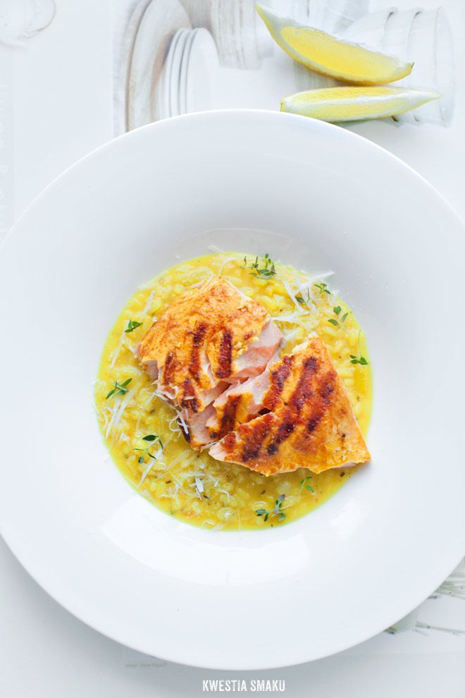 Lemon Risotto with Pan-Fried Salmon | Bon Appetit | Pinterest