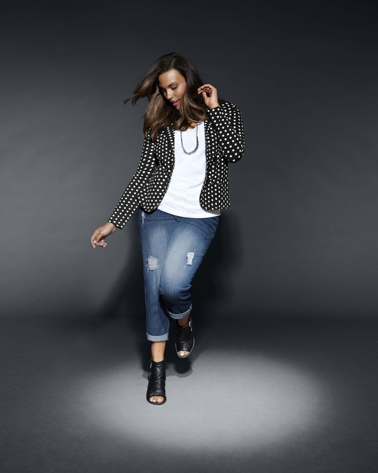 Polka Dot Knit Blazer: complete your denim look! #LaneBryant