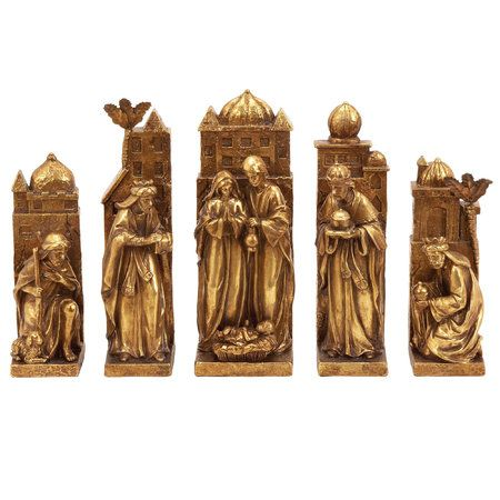 Ine love gold finish nativity scene set