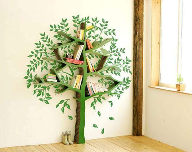 Полка для книг на стену из дерева