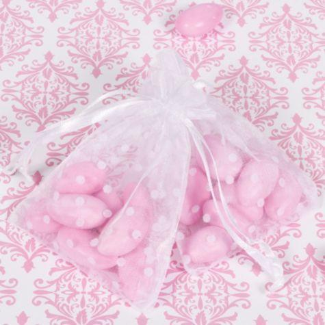 White Polka Dot Organza Wedding Favor Bags - Party City Canada