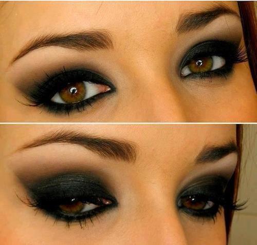 Красивые макияж с черными тенями