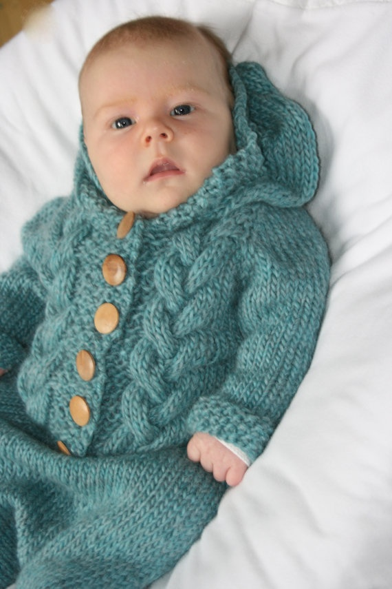 Knitted baby bunting - photo#2