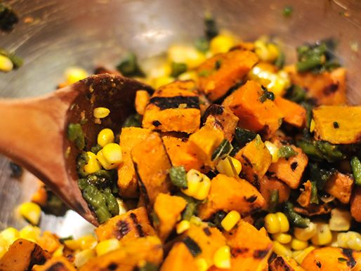 Grilled Sweet Potato and Corn Salad Recipe. I've had this before with ...