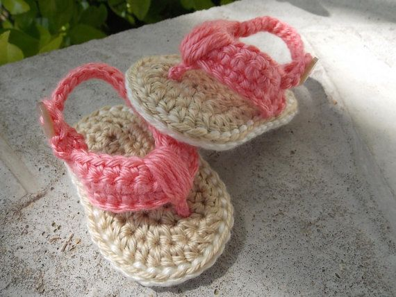 Crochet baby flip flops - 0-6 months size - made to order