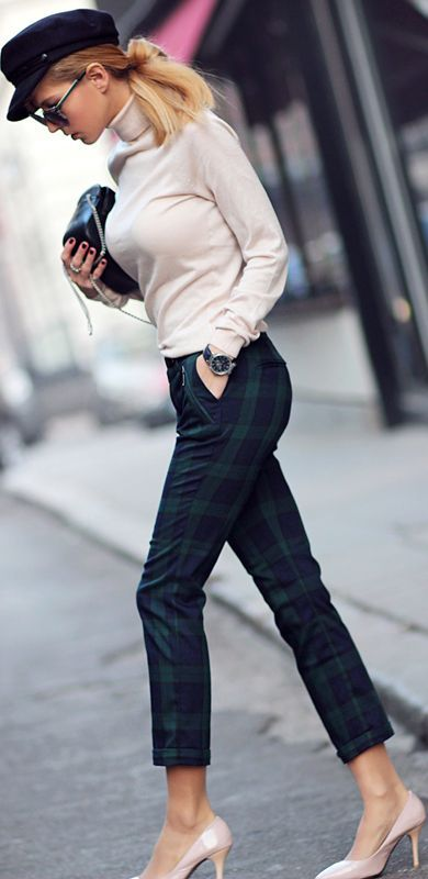 Green & Blue Plaid Checked Trouser + Turtleneck Blouse + High Heels Shoes.