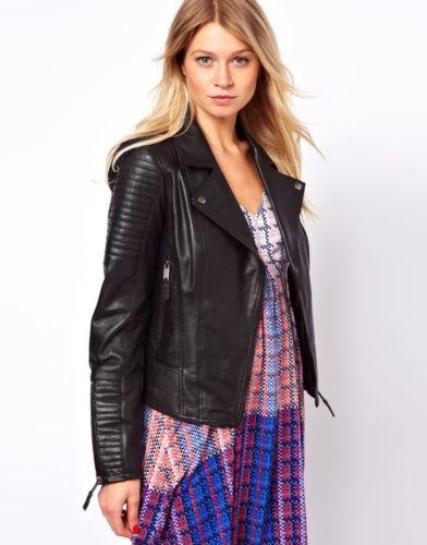 New Custom Made Genuine Lambskin Designer Leather Biker Jacket Women's