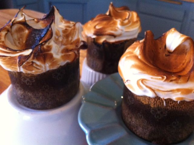 Devil's Food Cupcakes with chocolate ganache filling and toasted ...