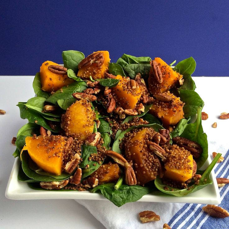 Spinach & Squash Salad with Pecans and Toasted Cinnamon Quinoa | Reci ...