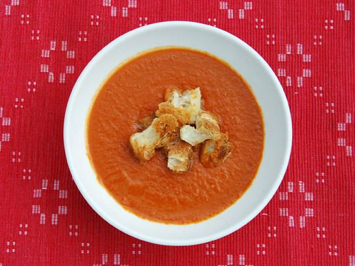 Serious Eats: Brown Sugar-Roasted Tomato Soup with Cheddar Croutons