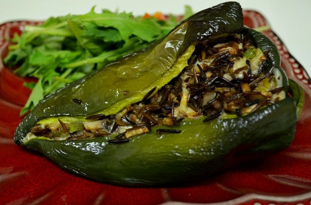 Vegetarian Stuffed Poblano Peppers with Wild Rice and Baby Portobellos