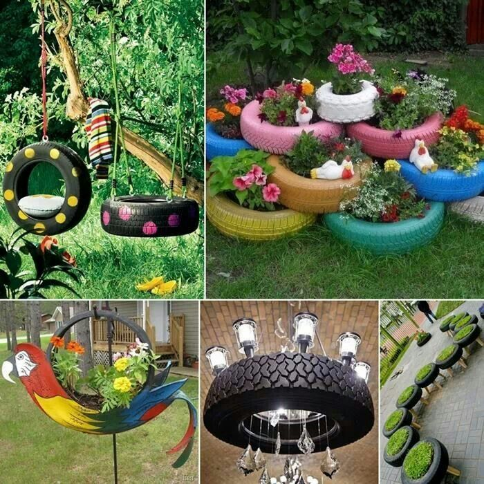 A great way to decorate with old tires diy crafts for Tire craft ideas
