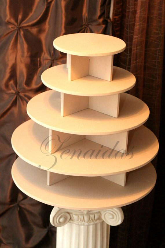 Wooden tiered cupcake stand 4 tiered white wedding shabby for How to build a tower stand