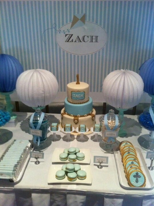 Baptism party decorations baby baptism party pinterest for Baby christening decoration ideas
