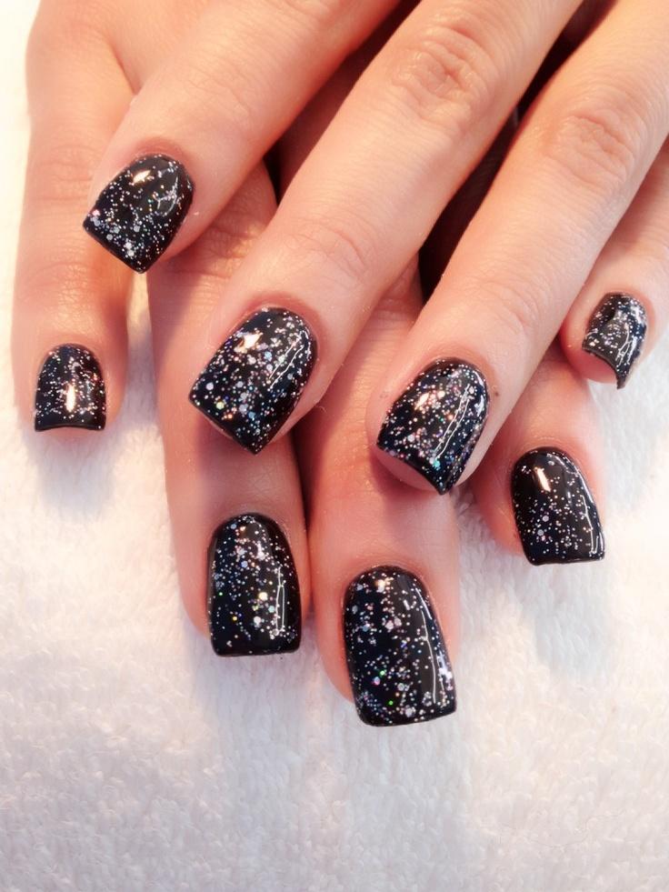 Black glitter gel | Nails | Pinterest