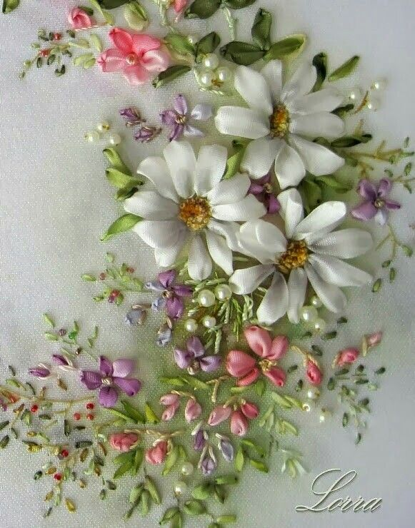Ribbon embroidery pinterest