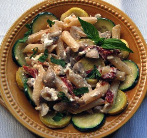 Penne With Asparagus And Mushrooms In A Gorgonzola Sauce Recipe ...