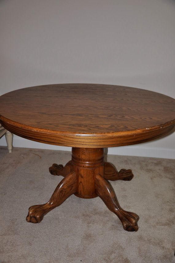 Oak claw foot dining room table custom finished for Dining room tables etsy